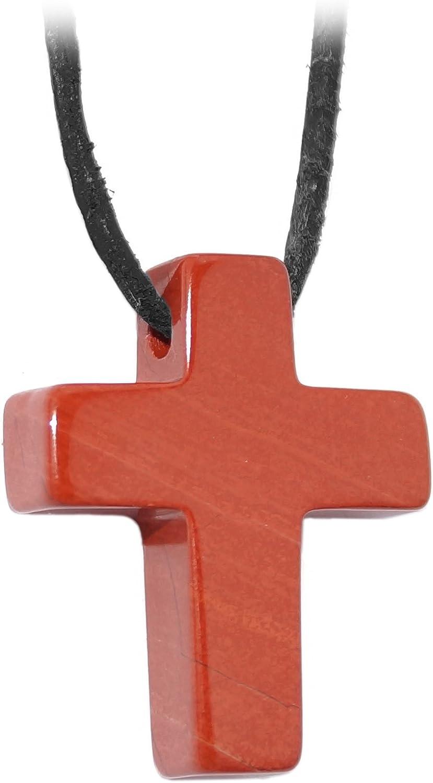 Kaltner Präsente–Regalo Idea–Cadena para Hombre y Mujer de piel con cruz colgante de la piedra preciosa jaspe roja