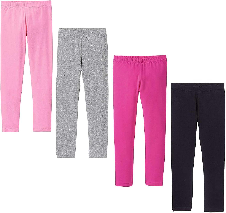 DOCHY Baby Girls' 4-Pack Leggings Cotton Basic Legging for Kids Fitting Long Pant Girls Leggings Toddler Active Leggings