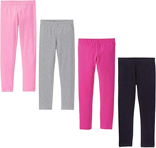 2 PACK Kids Girls Ankle Length Stretch Fit Cotton Leggings Casual Wear 2-13 YRS