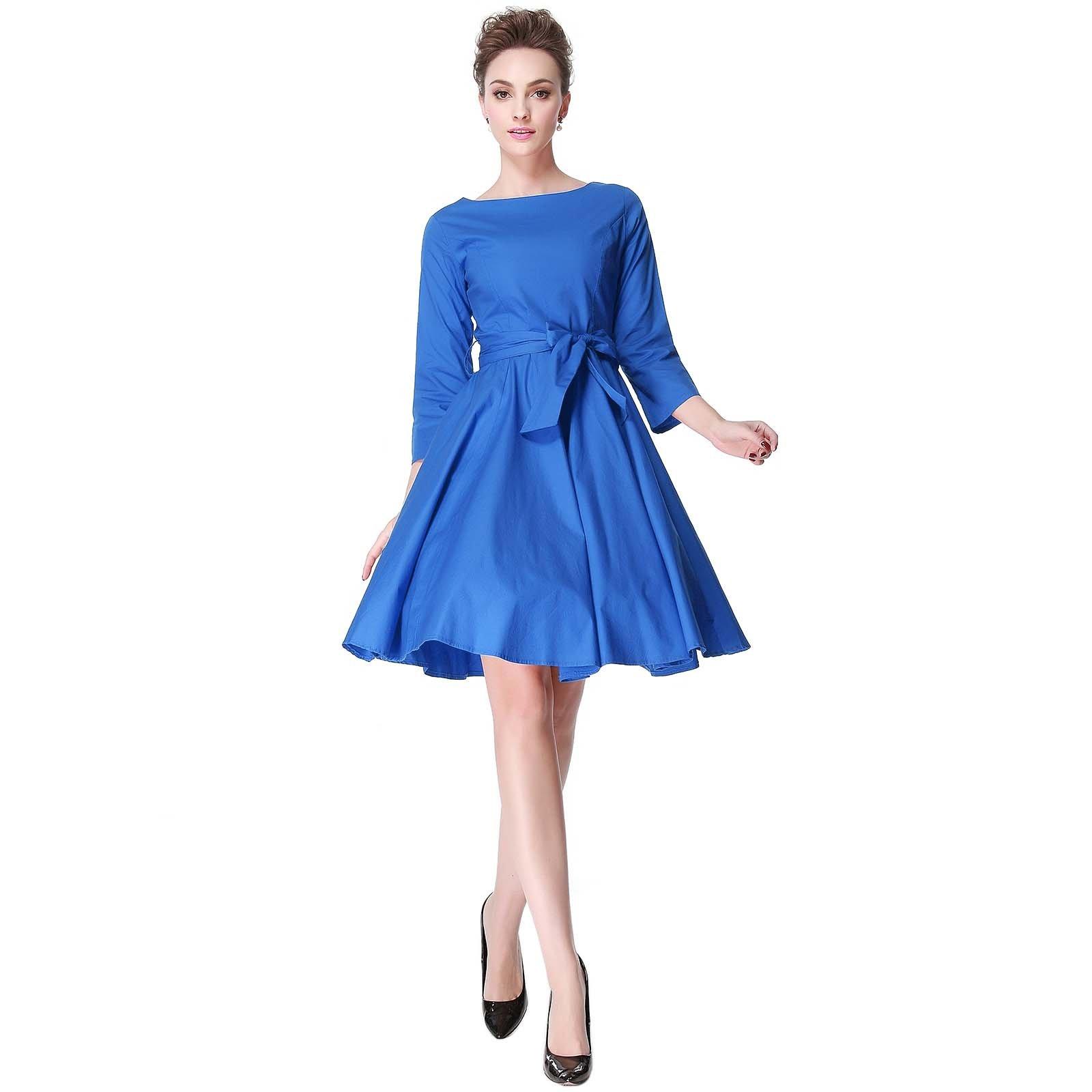Heroecol 50s 60s Hepburn 3/4 Sleeve Style Vintage Retro Swing Rockailly Dresses Size L Color Blue