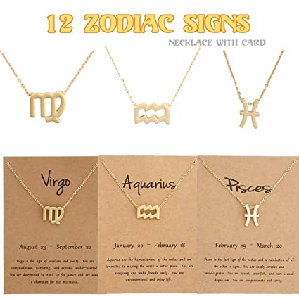 98debfb43 Amazon.com: Naomi 12 Constellation Pendant Necklace Zodiac Sign Necklace  Birthday Gifts Message Card for Women Girl Small Gift Christmas Card  (Multi-Color ...