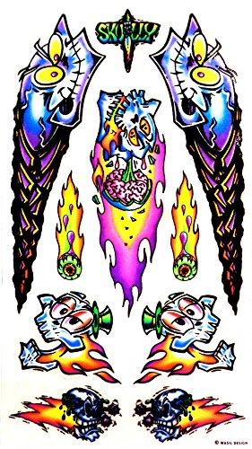 Rad Decalz - Skully - Neon Skulls and Flaming Eyeballs - 10 Sticker Decal Set ()