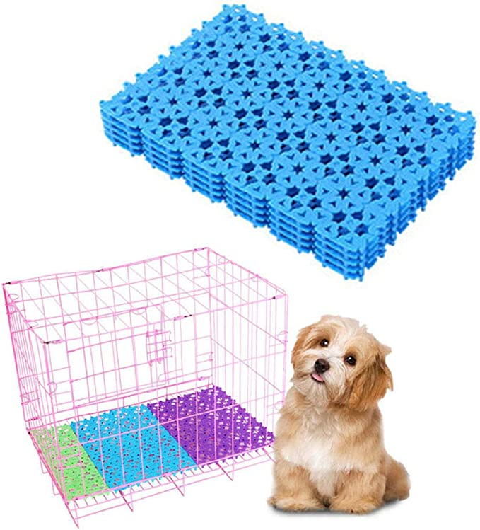 Dark Blue 4 Packs Plastic Cage Bottom Mat for Bunnies Small Animal Feets Floor Pads Resting mats for Dog Rabbits Guinea Pigs Playpen Pet Wire Cages Newweic Rabbit Cage Mats