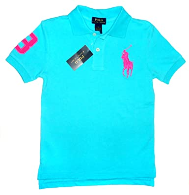 NEW Genuine RALPH LAUREN Boys Big Horse Polo Shirt - Bright Blue Pink Logo ( 3de1729e4a83