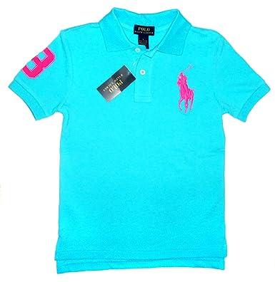 New Genuine Ralph Lauren Boys Big Horse Polo Shirt Bright Blue