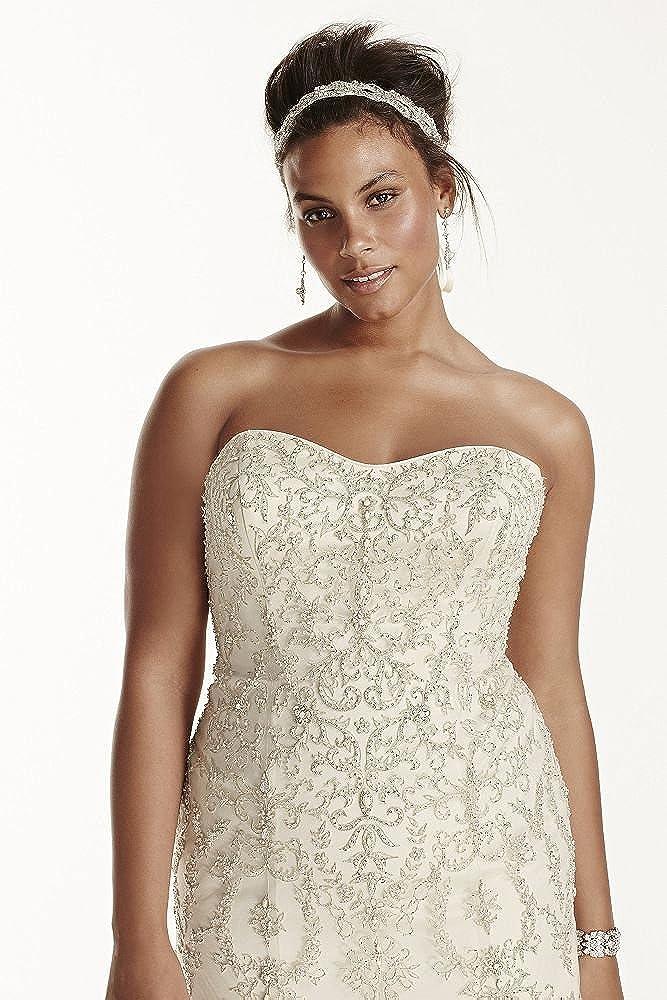 David\'s Bridal Plus Size Oleg Cassini Tulle Beaded Mermaid Wedding ...