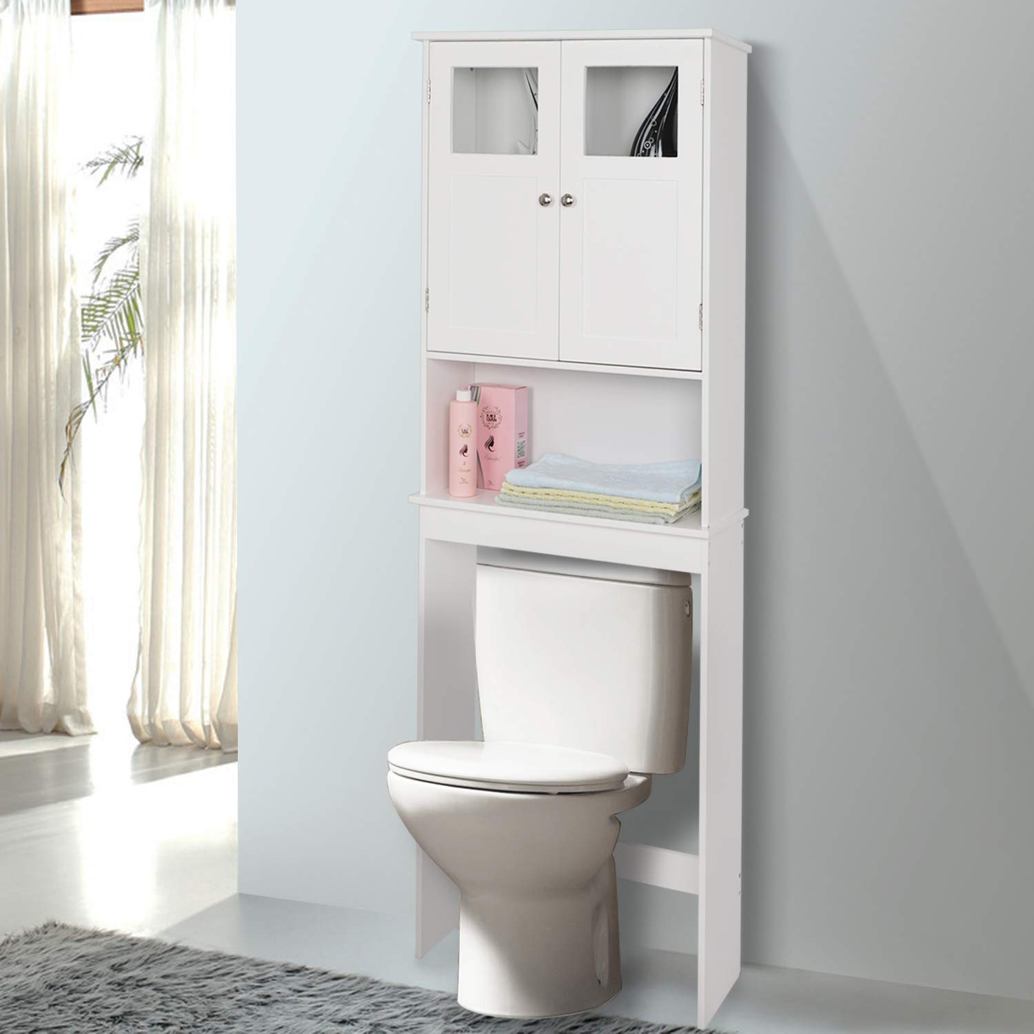 Bonnlo Over Toilet Storage Bathroom Space Saver With Double Door Glass Window Cabinet Tower With Adjustable Shelf White