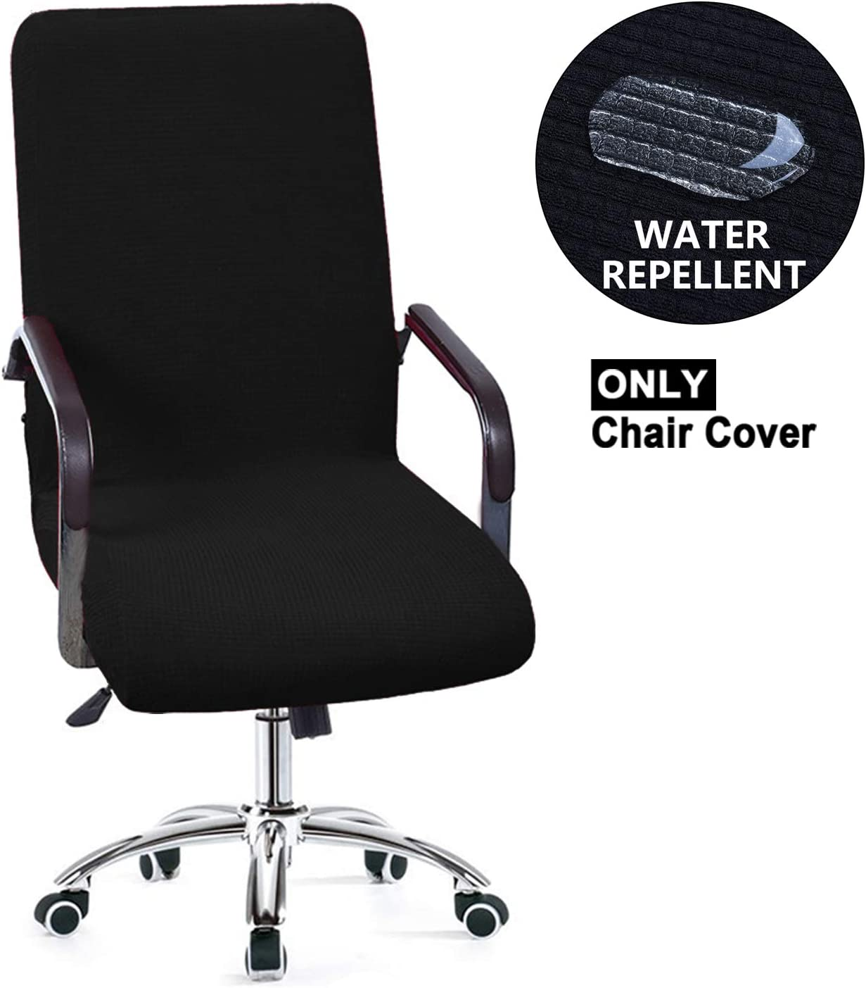 NC HOME Waterproof Office Chair Slipcover, Removable Washable Anti-dust Universal Chair Covers for High-Back Executive Chair (Medium, Black)