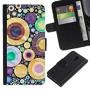 ZONECELL (No Para S4 Mini) Imagen Frontal Negro Cuero Tarjeta Ranura Trasera Funda Carcasa Diseño Tapa Cover Skin Protectora Case Para Samsung Galaxy S4 IV I9500 - diseñar los lunares abstractos