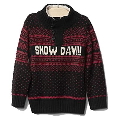 Baby Gap Boys Red Black Snow Day!! Fair Isle Sweater 12-18 Months