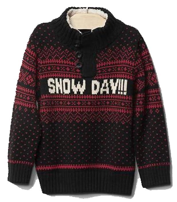 Amazon.com: Baby Gap Boys Red Black Snow Day!! Fair Isle Sweater ...