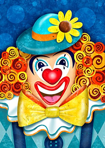 Toland Home Garden Clowning Around 12.5 x 18 Inch Decorative Colorful Bright Happy Circus Clown Garden (Rodeo Clown Makeup)