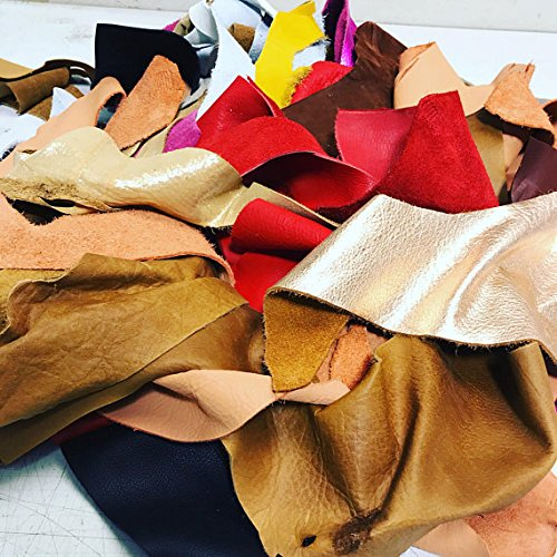 Embossed Leather Metallic (Full Grain Leather Scraps and Trimmings: 1.5 - 2lbs of scrap include fashion colors, metallics, prints, embossed leathers (USPS Padded Pouch))
