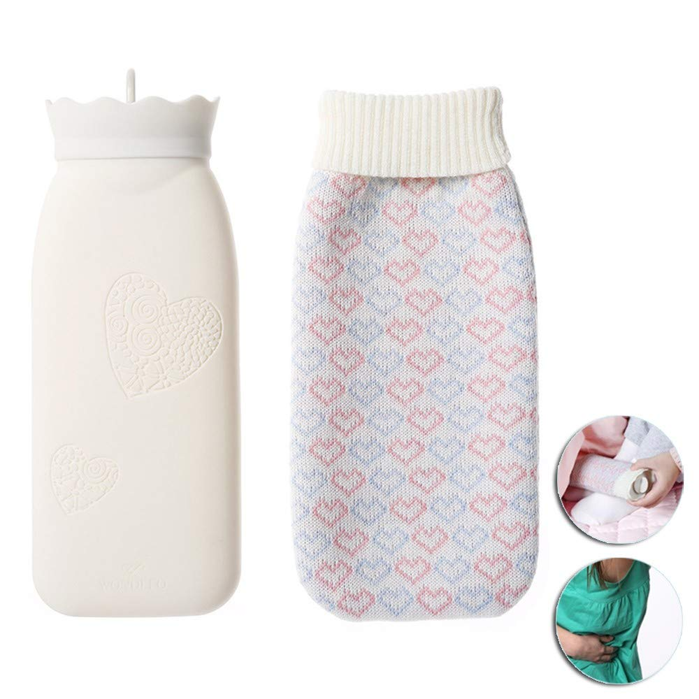 HJHY@ Large Silicone Hot Water Bottle Transparent Classic Natural Rubber Warmer Camping Reusable Big Hot Water Bag,Back Pain, Convulsions,Warming Up On Cold NightsL by HJHY@