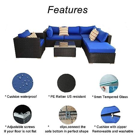 Amazon.com: Juego de sofá de mimbre para exteriores, 7 ~ 11 ...