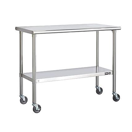 Amazon.com: Mesa de cocina de acero inoxidable con ruedas ...