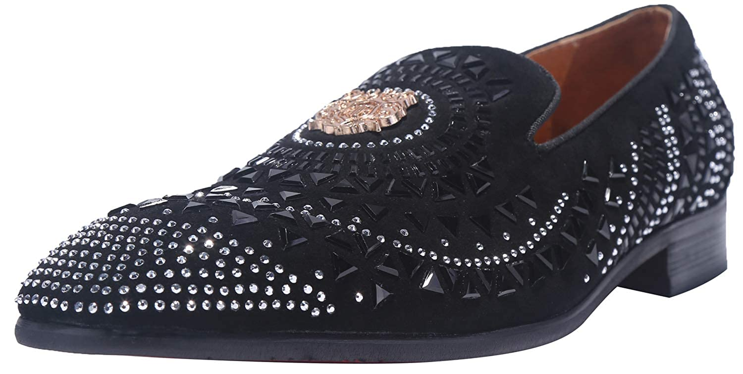 71ec6b2183 ELANROMAN Loafers Men Dress Suede Leather Shoes Slip-on Flat Slippers with  Gold Metal Snake Print Black Fashion Smoking Slippers Work Party Shoes for  Men