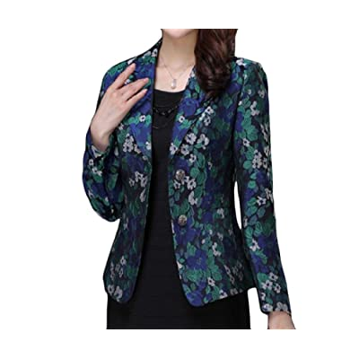 Abetteric Womens Printing Plus Size Lapel Single Breasted Small Blazer