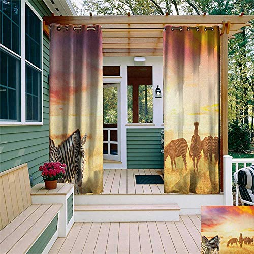 leinuoyi Safari, Outdoor Curtain Waterproof, African Zebras at Fairy Sunset on The Grassland Wildlife Adventure Theme in Nature, for Gazebo W72 x L108 Inch Multicolor