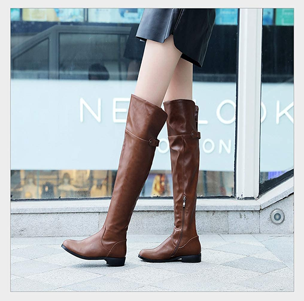 TANGOGO New Cozy Square Heel Winter Boots Female Street Over-The-Knee Boots Woman Zip Plus Size Shoes
