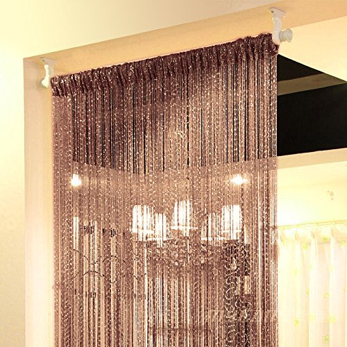 Curtain Panels Hanging (Topixdeals Rare Flat Silver Ribbon Door String Curtain Thread Fringe Window Panel Room Divider Cute Strip Tassel Party Events (2 Pack, Dark-Brown))