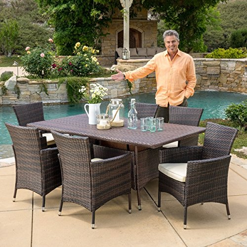 Jennifer Outdoor 7-piece Wicker Dining Set with Cushions by Christopher Knight Home -  295851