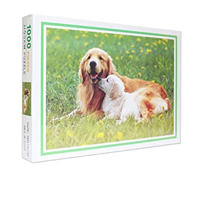 Darkduke - DIY Adult Puzzle, Landscape Pattern Picture Jigsaws Puzzle Pattern Home Wall Decoration 1000 Pieces -Dog Golden Retriever: Toys & Games