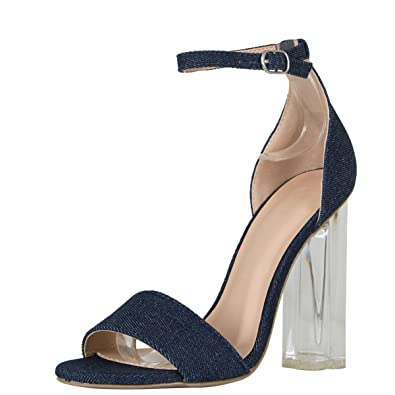 a205297aad9 Wild Diva Womens Open Toe Transparent Clear Lucite Chunky Heel Ankle Strap  Pump Sandals 6 Blue