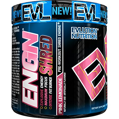 Evlution Nutrition ENGN Shred Pre Workout Thermogenic Fat Burner Powder, Energy, Weight Loss, 30 Servings Pink Lemonade