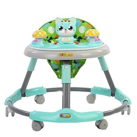 Andador De Bebé con Ruedas/Andador Walkers para Niños Coche Pequeño Caminador para Niños Aprendizaje Bebé Wallker Equilibrio De Música Andador,Green