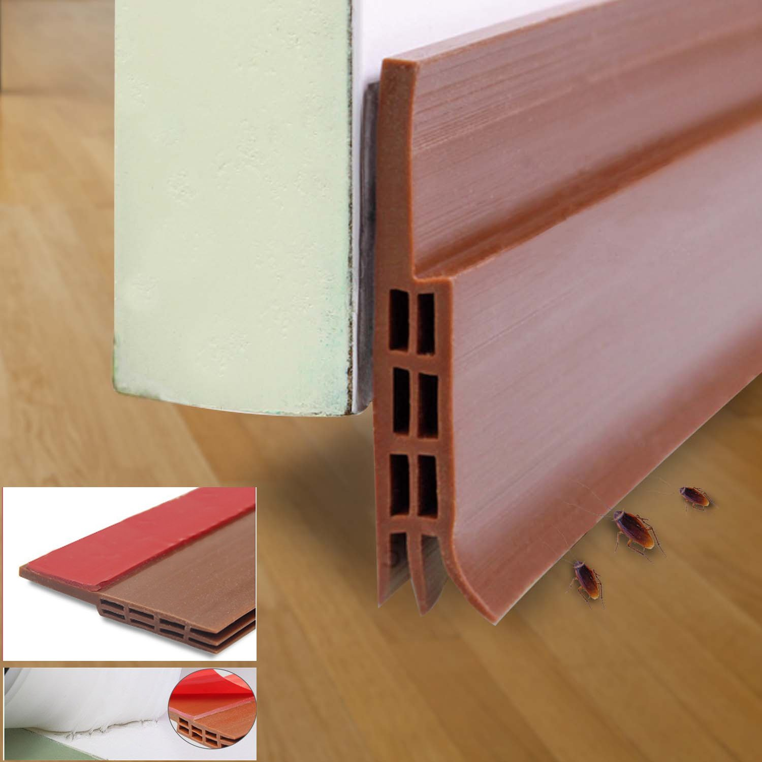 Draught Excluder Tape Rubber Seal Weather - Adhesive Under Door Sweep Weather Stripping Soundproof Doors Window Strip Seal, 2' Width x 39' Length (Brown) 2 Width x 39 Length (Brown) GB UNICORN