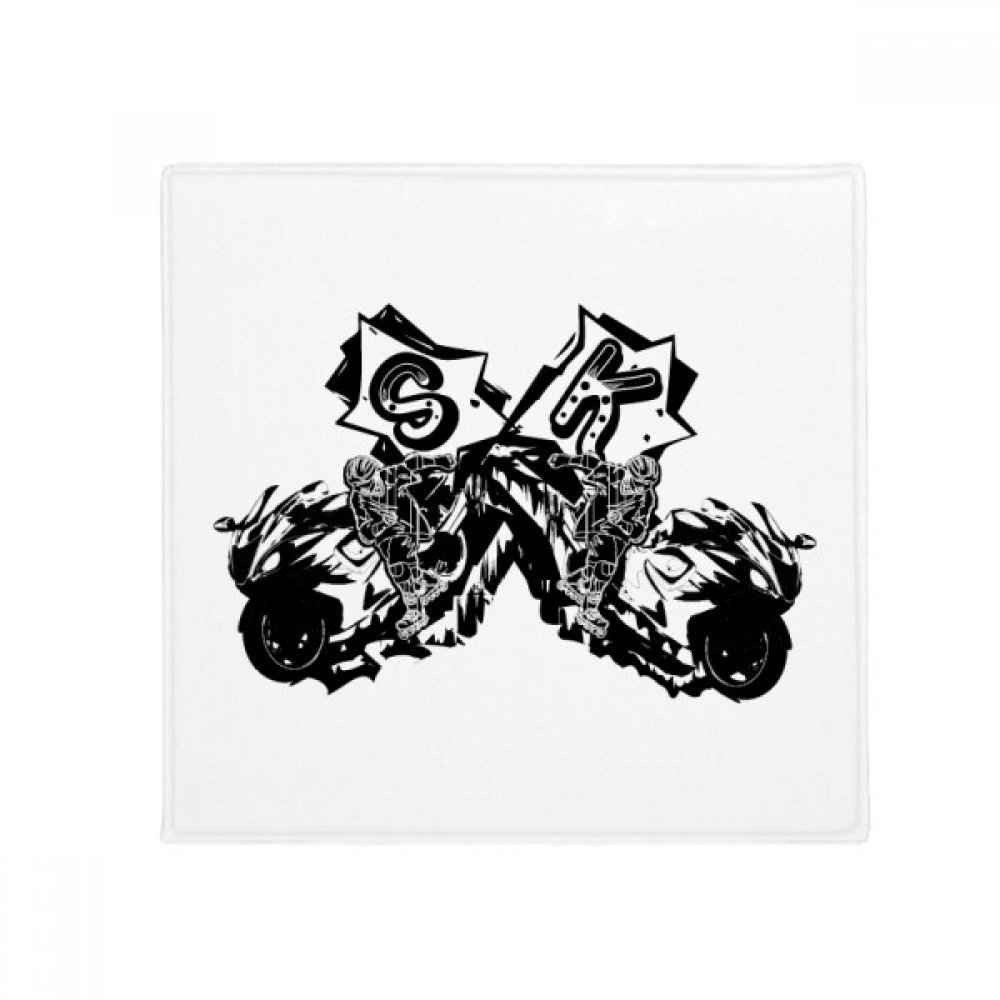 DIYthinker Black Motorcycle Rider Motorcycle Pattern Anti-Slip Floor Pet Mat Square Home Kitchen Door 80Cm Gift