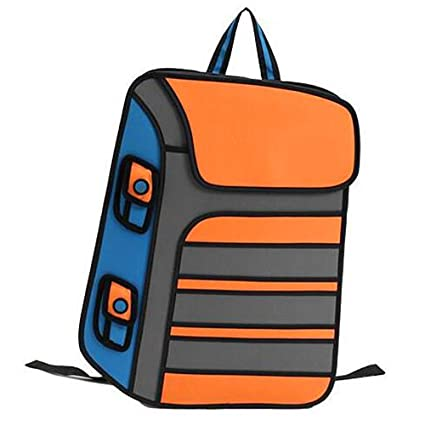 2e88b2691f Image Unavailable. Image not available for. Color  3D Jump Style 2D Drawing Cartoon  Paper Bag Comic Backpack Double-Shoulder Bag