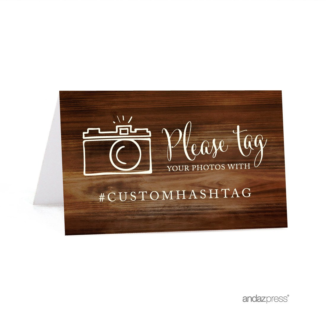 Andaz Press Personalized Hashtag Table Tent Place Cards, Double-Sided, Rustic Wood, 20-Pack, Custom Hashtag for Social Media Instagram Facebook Photo Tagging