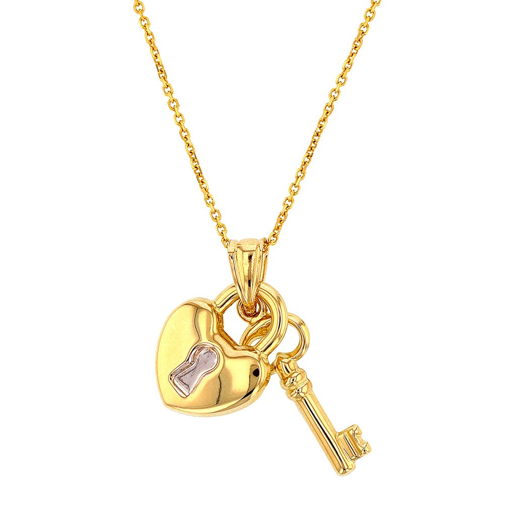 Fine 14k Yellow Gold Heart with Lock and Key Pendant Necklace, 18''