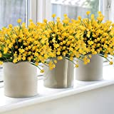 6Pack Artificial Flower Yellow Fake Daffodils Fake Flower Greenery Shrubs Plants Plastic Bushes Indoor Outside Decor