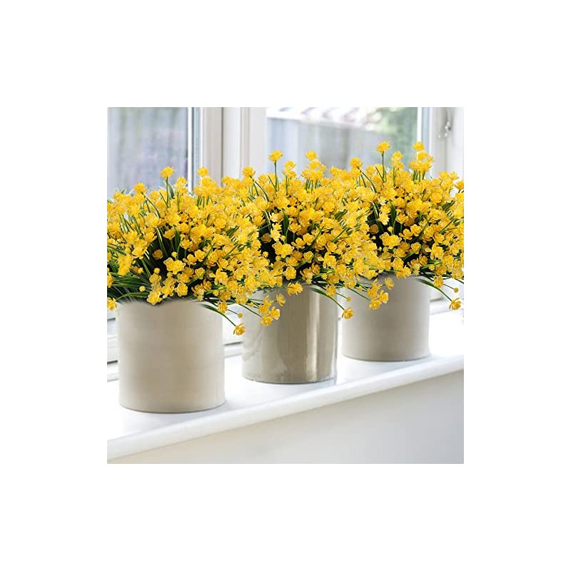 silk flower arrangements 6pack artificial flower fake yellow daffodils greenery shrubs plants plastic bushes indoor outside decor