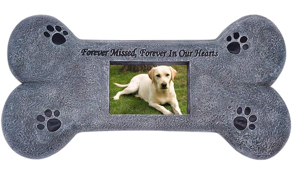 Bone Shape Pet Memorial Stone - Personalized Tombstone with a Photo Frame - Indoor Outdoor Garden Backyard Grave Maker for Dog or Cat - Loss of Dog Gift - Pet Memorial Gifts