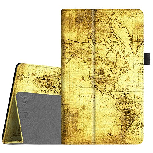Fintie Folio Case for All-New Amazon Fire HD 8 Tablet (Compatible with 7th and 8th Generation Tablets, 2017 and 2018 Releases) - Slim Fit Premium Vegan Leather Standing Protective Cover, Ancient Map