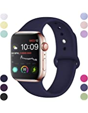 Hamile Compatible With Apple Watch Strap 38mm 42mm 40mm 44mm, Soft Silicone Waterproof Replacement Strap for Apple Watch Series 4/3/2/1, Multi Colours