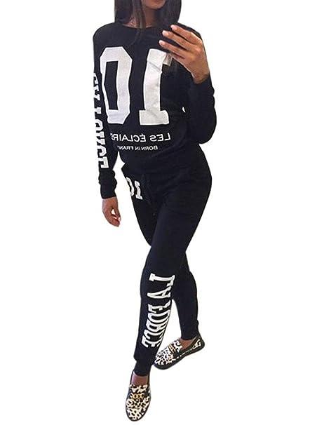 c131c3988043 Minetom Donna Autunno Maglie a Manica Lunga Pantaloni Tute da Ginnastica Abbigliamento  Sportivo Tuta Jogging Felpa: Amazon.it: Abbigliamento