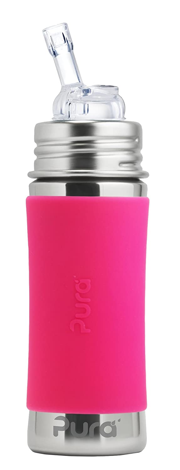 Pura Kiki 11 Oz / 325 Ml Stainless Steel Bottle With Silicone Straw & Sleeve, Pink (Plastic Free, BPA Free, NonToxic Certified)