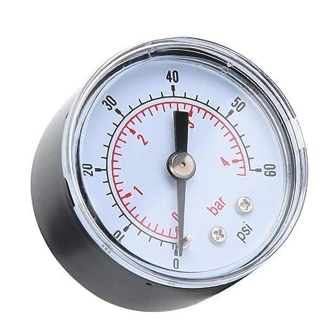 1//8 Zoll BSPT Axialmanometer f/ür Luft /Öl und Wasser 0-60psi,0-4bar Mechanisches Manometer