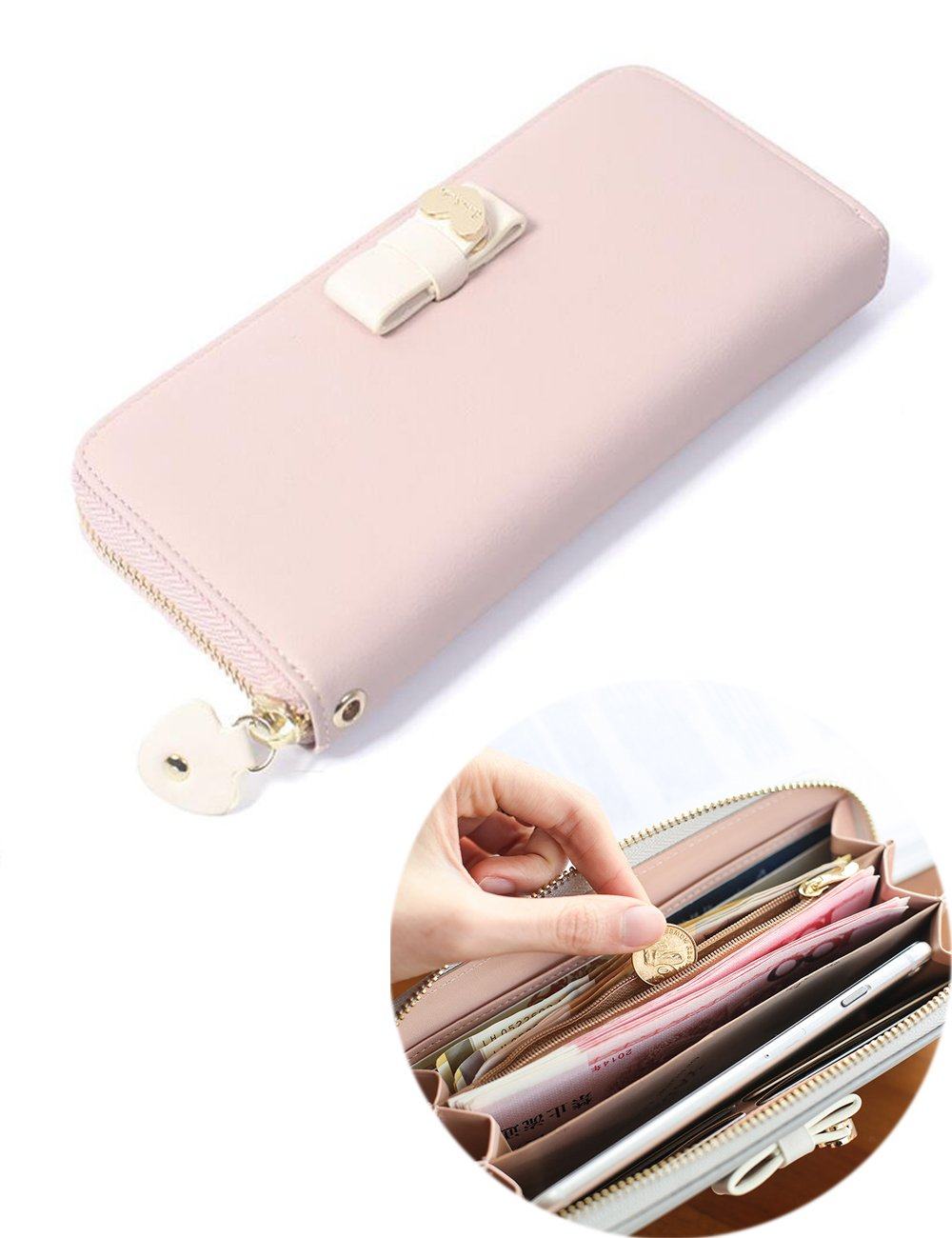 Ifunle Womens Teen Girls Bowknot Zip Around Long Clutch Phone Holder with Wrist Strap (Purple)