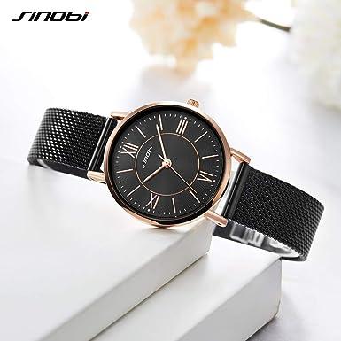 Amazon.com: SINOBI Creative Design Simplicity Women Watch Elegant Diamond Mesh Band Women Watches Ladies Wristwatch (S9799L-Black-Mesh Band): Watches