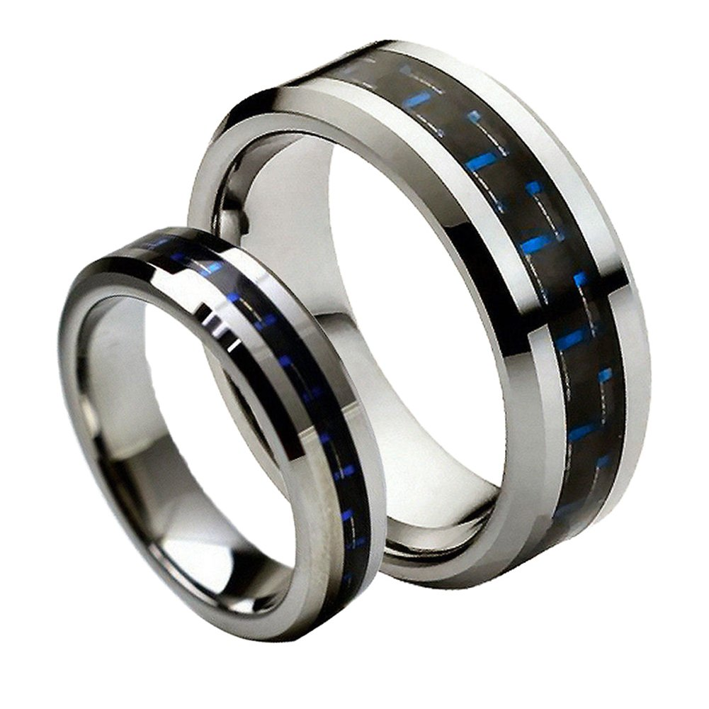 For Him & Her - 8MM/6MM Tungsten Carbide Beveled with Black & Blue Carbon Fiber Inlay Wedding Band Ring Set