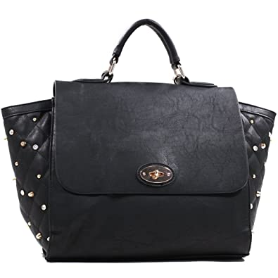 2627734f4fa2 Amazon.com  Women s Studded Quilted Satchel with Twist Lock Closure ...