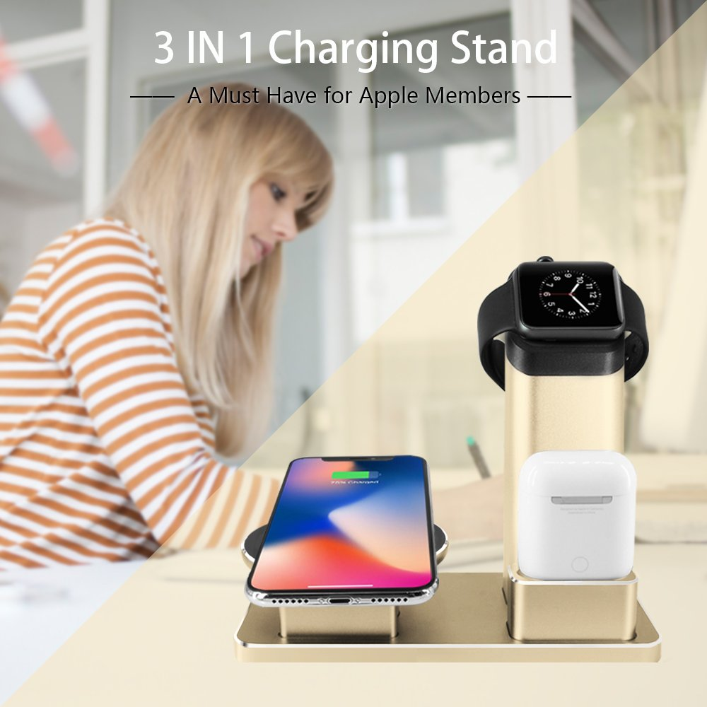 Iphone X Wireless Charger Stand Apple Watch Charging Uob Wiring Instructions Stands Dock Airpods Docks 3 In 1 Aluminum For Series