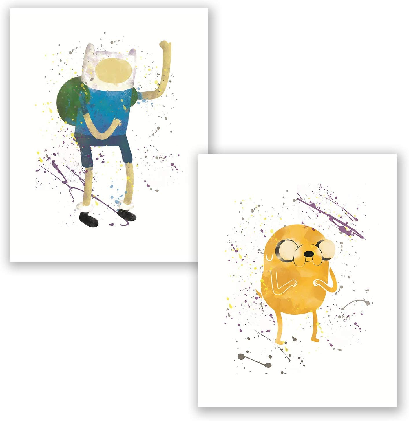 Adventure Time Poster - Set of 2 Watercolor Prints - Finn The Human - Jake The Dog - Nursery Wall Decor - Gift for Children Boys Girls (8x10)