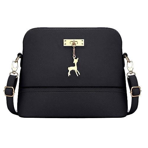 65b935071b1f Women PU Leather Vintage Messenger Bag Shoulder Crossbody Bag(Black ...